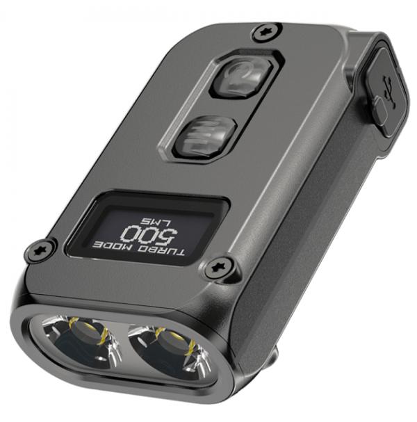 Фонарь Nitecore TINI 2 (2xOSRAM P8, 500 люмен, 5 режимов, USB Type-C), серый