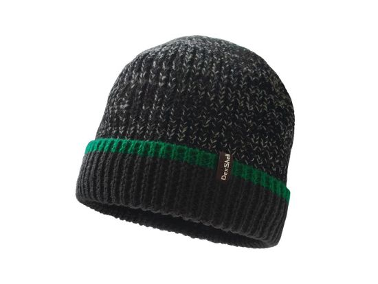 Шапка водонепроницаемая Dexshell Cuffed Beanie, DH353GRN черная с зеленой полоской, L/XL 58-60 см