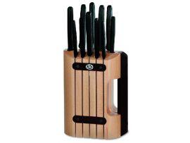 Набор кухонный Victorinox 11 шт с черн. ручкой с подставкой (8 ножей, точило, вилка, овощечистка)