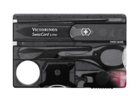 Victorinox SWISSCARD LITE  82х54х4мм/13предм/черн.прозр /ножн/LED/отверт/ручка