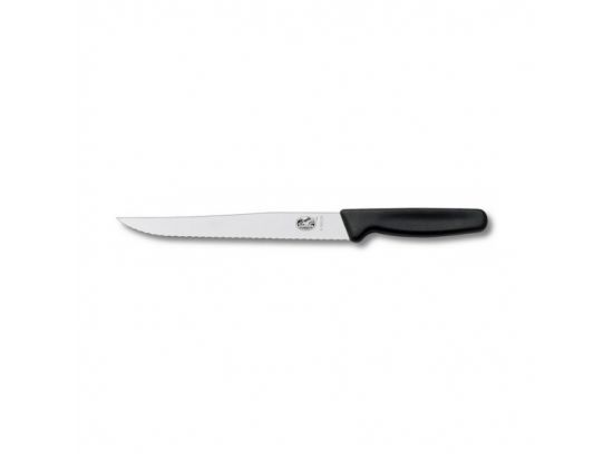 Кухонный нож Victorinox Carving 20 см узкое волн. с черн. ручкой (блистер)