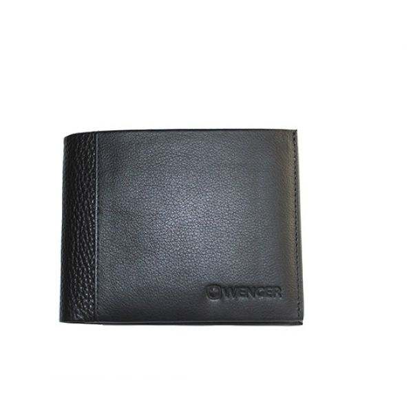 Портмоне WENGER 32-06BK, кожа, черный, 12х9,5х1 см