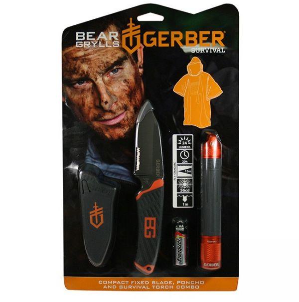 Promo Фонарь+нож+пончо Gerber Bear Grylls, блистер